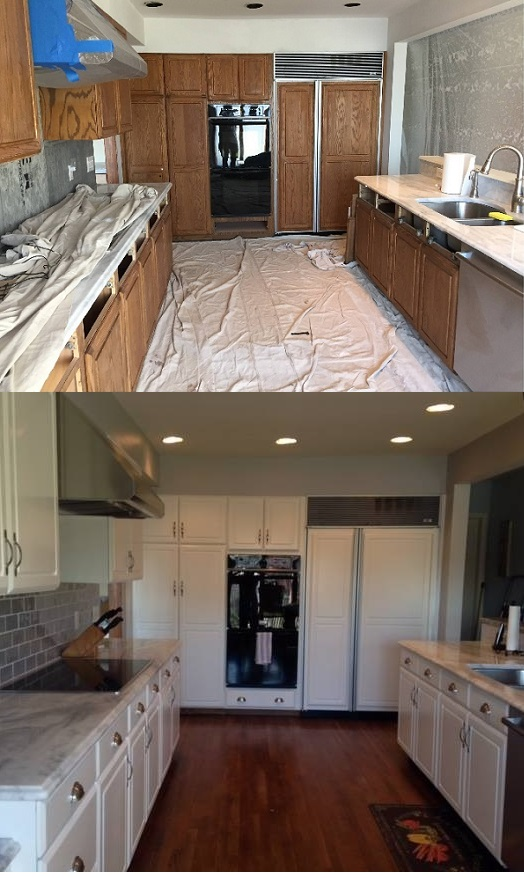 Spray painting kitchen cabinets refinishing kitchen cabinets for Spray painting kitchen cabinets
